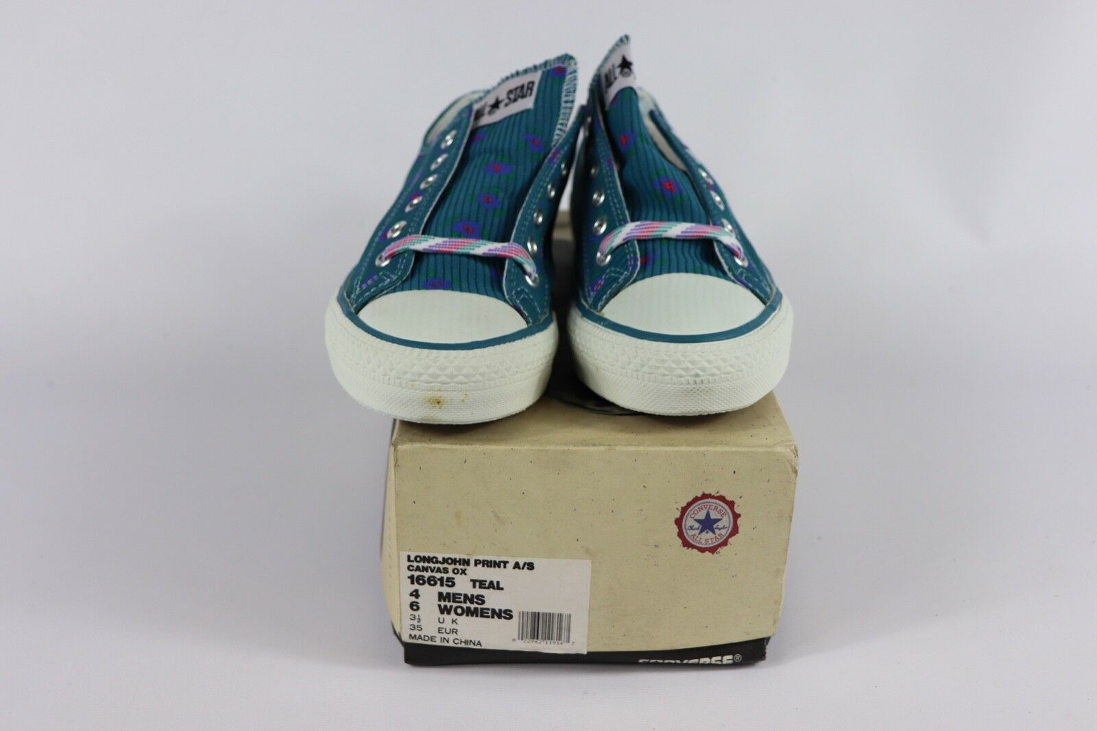 Vtg New Converse Mens 4 Wmns 6 Longjohn Print A/S Canvas Ox Chuck Taylor Shoes image 6