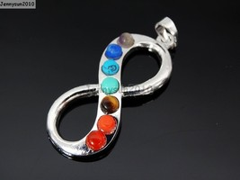 Natural Gemstone Healing Reiki Chakra Infinity Pendant Silver Plated Cha... - $2.48+