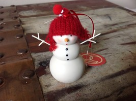 Miniature white snowman ceramic knit hat color choice dept 56 new Knit Wit