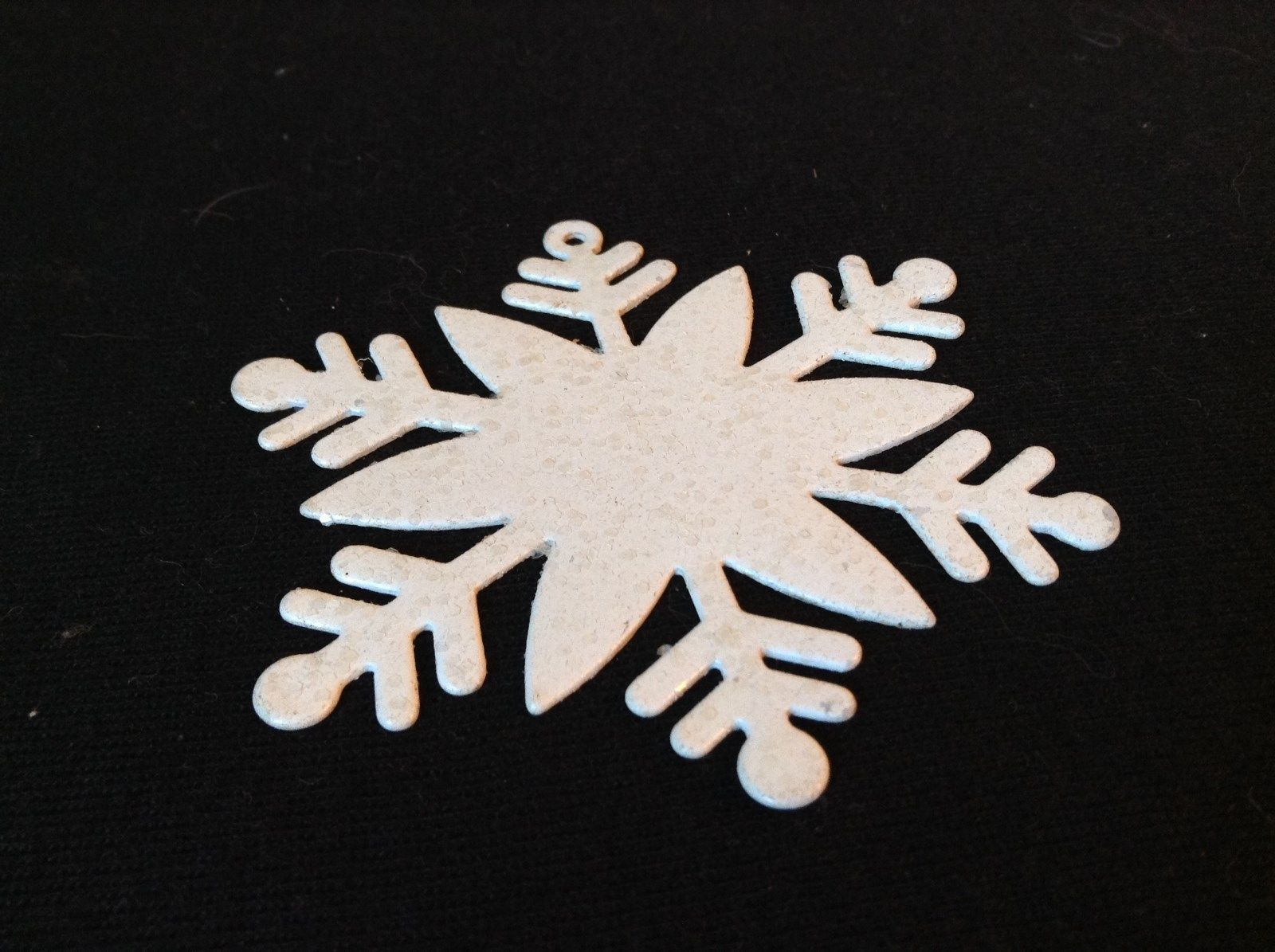 White Snowflake Metal Hanging Christmas Ornament with lots and lots of glitter