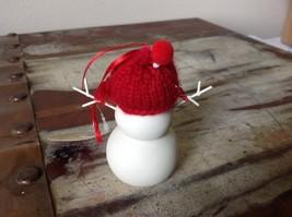 Miniature white snowman ceramic knit hat color choice dept 56 new Knit Wit image 6