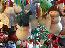 Miniature white snowman ceramic knit hat color choice dept 56 new Knit Wit image 4