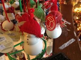 Miniature white snowman ceramic knit hat color choice dept 56 new Knit Wit image 2