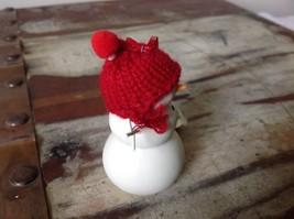 Miniature white snowman ceramic knit hat color choice dept 56 new Knit Wit image 7