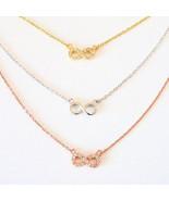"""New La Preciosa Sterling Silver Tri-Color 3-Strand CZ Infinity Necklace 16"""" - $26.73"""