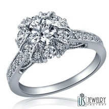 1.35 Carat G-VS1 Round Cut Diamond Engagement Ring Milgrain Edged 14k White Gold - $2,226.51