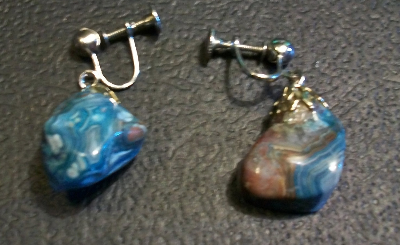 Natural Stone Dangling Earrings with Screw Backs