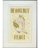 A Golden Peace dove chrismtas cross stitch card... - $5.40