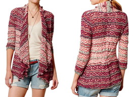 Anthropologie Kasimira Jacquard Cardigan Small 2 4  Red Sweater Moth Pom... - $75.65