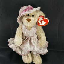 Ty attic colection Darlene Brown Teddy Bear Hat Dress Plush Poseable Arm... - $11.87
