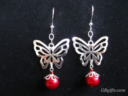 Primary image for Butterfly pearl earrings  #EP0700018