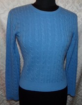Aqua Cable Knit Blue Crew Neck 100% Cashmere Sweater S Small Womens - $30.86