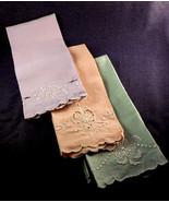 Set of 3 Vintage Tea Towels, Embroidered Flower... - $24.00
