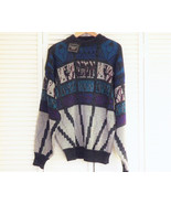 Vintage Mens Bold Striped Party Sweater, Pullover 1980's Sweater Blue Teal - $32.00