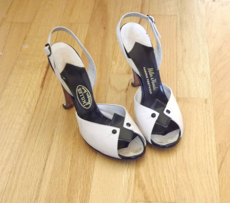 Vintage P Toe Shoes Cream Black