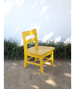 Vintage Wooden Yellow Small School Desk Baby Doll Child's Chair - $82.00