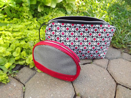 Cosmetic Bags Large Geometric Lancome Makeup Case Retro Red Black Zipper Pouch - $23.00