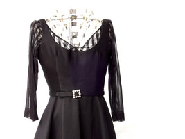 Short Formal Black Dress, Vintage Black Dress, Handmade Dress - $175.00