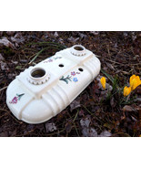 Vintage Ivory Floral Ceramic Glass Ceiling Light Fixture, Off White Flow... - $89.00