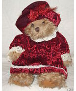 "RUSS BERRIE Bear Alexandria 12"" Dressed Burgundy Burnout Velvet Off Whit... - $24.99"