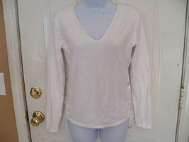 Banana Republic White Knit VNeck Long Sleeve Shirt Size M Women's EUC - $21.99