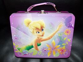 Disney Fairies Tinkerbell Purple Metal Tin Lunchbox EUC - $16.99