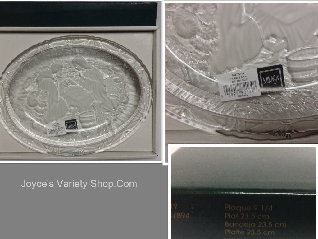MIKASA Nativity Plaque Crystal Plate Christmas NIB Germany 9.25""