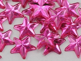 25mm Rose H112 Flat Back Acrylic Star Gems High Quality - 15 PCS - $5.99