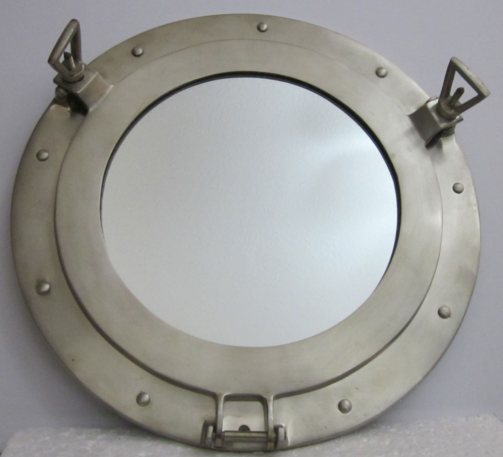Porthole 14in with Mirror Brass with Pewter Finish Heavy Casting