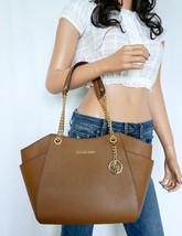 NWT MICHAEL KORS JET SET TRAVEL LARGE CHAIN SHOULDER LEATHER TOTE BAG BROWN - $138.59