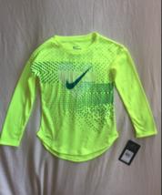 NWT NIKE Girls L/S Dri-Fit T Shirt Volt Yellow Athletic top Cut Dry heart Size 6 - $10.40