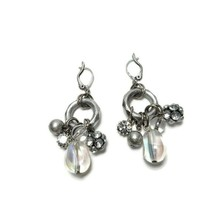 Vintage Silver Tone Circle Dangle Earrings Clear Rhinestones Smooth - $14.84