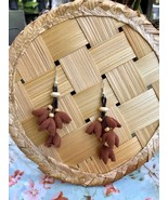Cute flower drop Earrings, Handmade flowers with wood beads and leather ... - $19.75