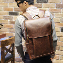 Vintage Men's Leather Backpack bags Messenger rucksack laptop bag - $35.14