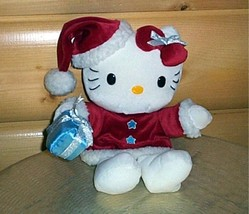 Sanrio Plush HELLO KITTY Body Hand Puppet in Red Santa Dress Holding Gift - $9.95