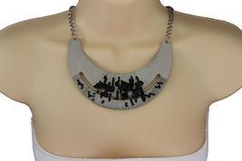 Women Silver Necklace Metal Chain Plate Black Stone Bead Fashion Jewelry Earring - $14.69