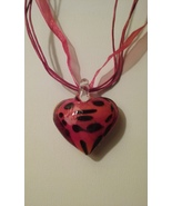 Red With Black Dots Blown Glass Heart Pendant On Triple Strand Organza R... - $4.99