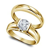 Yellow Gold Plated Pure 925 Silver Round Cut White CZ Wedding Bridal Ring Set - £57.22 GBP