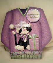 Handmade Greeting Card - Santa Kitty Sweater Card  - $6.95