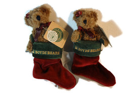 TWO BOYDS' PLUSH CHRISTMAS TREE ORNAMENT BEAR IN STOCKING FELICITY S ELF... - $18.00
