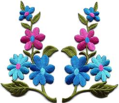 Wild flowers blue pink pair floral bouquet boho applique iron-on patch S... - $3.79