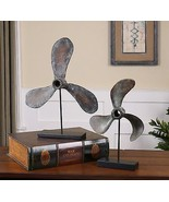 PAIR COASTAL BEACH PROPELLERS PROPS ON STANDS DISPLAY STATUE BOAT LAKE D... - $213.40