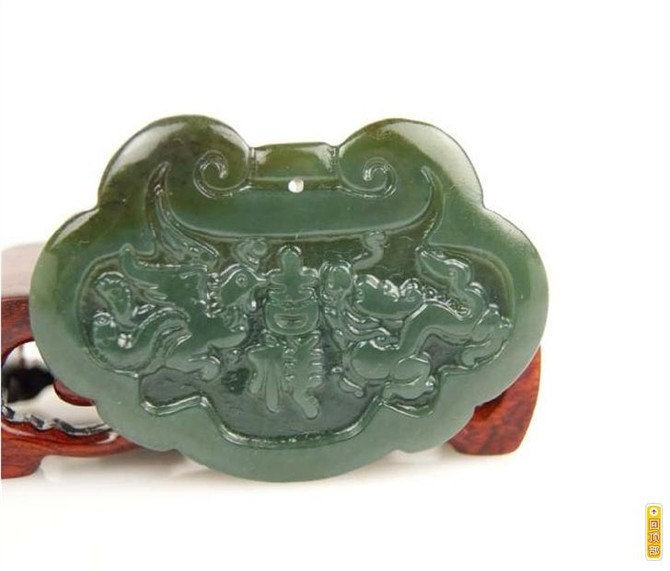 Free Shipping - good luck Hand carved Natural dark Green jade carved dragon Phoe