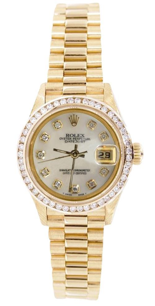 Women Rolex president datejust diamond dial bezel watch     FG20002
