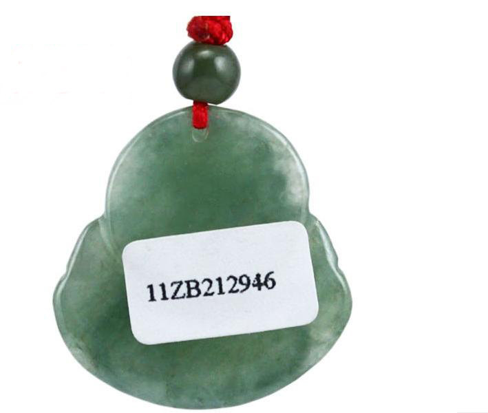 Free Shipping -perfect Natural dark Green jade Laughing Buddha Jadeite Jade char