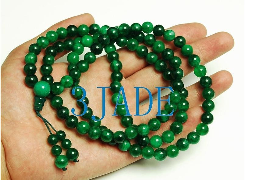 Natural green Jadeite Jade  Meditation yoga mantra 108 Pra