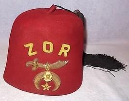 Zor Shriner Masonic Free Masonry Gemsco Fez Fezzes Hat  - $24.95