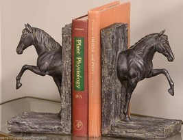 "8.7"" Horse Design Set of Bookends - Antiqued Bronze Finish Polyresin NEW"