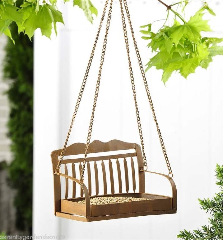 Hanging Iron Bench Design Birdfeeder with Metal Chain Hanger
