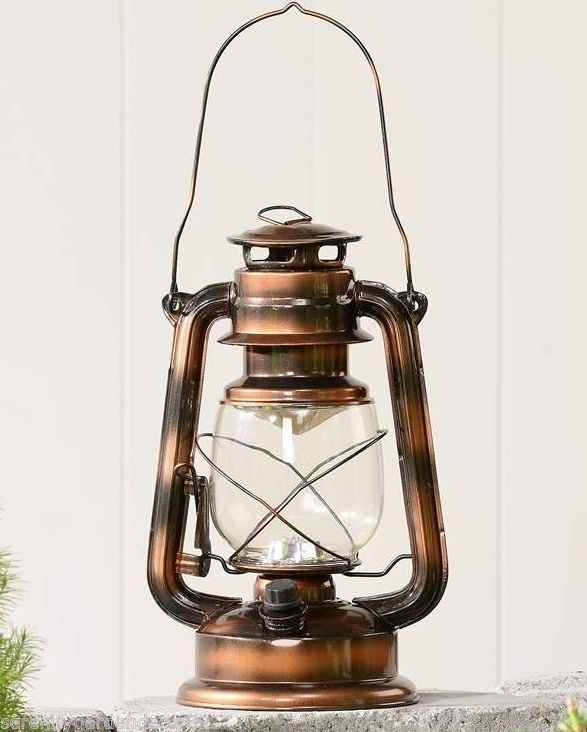 "11"" LED Lighted Metal Lantern with Handle - Antiqued Bronze Colored Finish NEW"